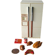 Tomy Dollhouse Refrigerator with Food - Doll House Kitchen Fridge - Miniature Kitchen Refrigerator - Doll House Furniture
