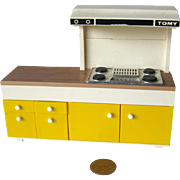Tomy Dollhouse Kitchen Stove With Drawers and Countertop - Dollhouse Kitchen - Miniature Kitchen Range - Doll House Furniture