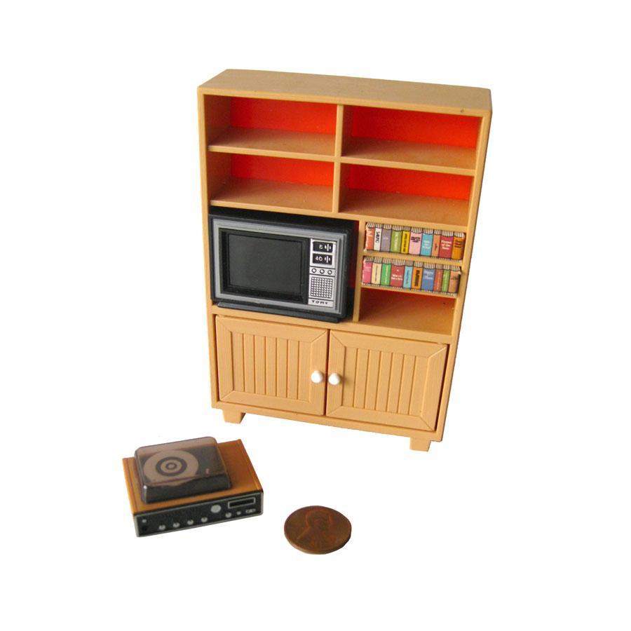 Roll over Large image to magnify, click Large image to zoom - Tomy Dollhouse TV Cabinet Entertainment Center - Dollhouse Living