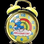 Vintage Smurf Alarm Clock - Have A Smurfy Day Metal Alarm Clock - Peyo Smurf Clock 1980s
