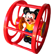 Mickey Mouse Rolling Toy - Walt Disney Productions - Retro Toy - Toddler Toy - Mickey Wheel Toy