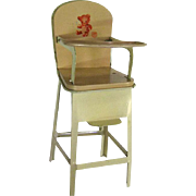 J Chein and Co Toy Tin High Chair - Metal Dollhouse Furniture - 8 Inch Doll Furniture - Tin Litho Doll Chair - Vintage Doll Furniture