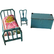 Blue Bedroom Set By Tootsie Toys With Rocking Chair Bed and Dresser - Vintage Dollhouse - Miniature Cast Iron Toy - Doll House Miniature Tootsietoy