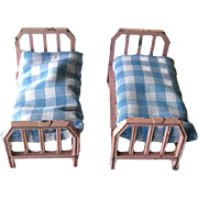 Dollhouse Beds by Tootsie Toy - Pink Beds With Blue Gingham Bedding - Dollhouse Miniatures