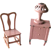 Rare Pink Tootsietoy Night Stand Lamp and Rocking Chair - Vintage Dollhouse Furniture by Tootsie Toys