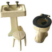 Tootsietoy Bathroom Fixtures including Pedestal Sink Stool and Toilet - Vintage Dollhouse Furniture by Tootsie Toys