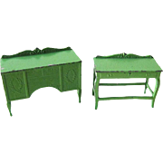Green Side Table and Sideboard by Tootsietoy - Vintage Dollhouse Furniture - Dollhouse Miniatures by Tootsie Toys