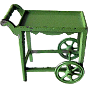 Green Metal Tea Trolley by Tootsietoy - Vintage Dollhouse Tea Cart - Metal Dollhouse Furniture by Tootsie Toys