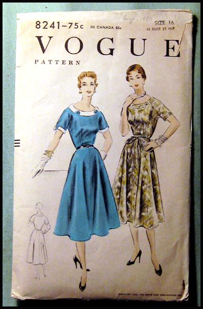 Vintage Vogue Dress Pattern 1954