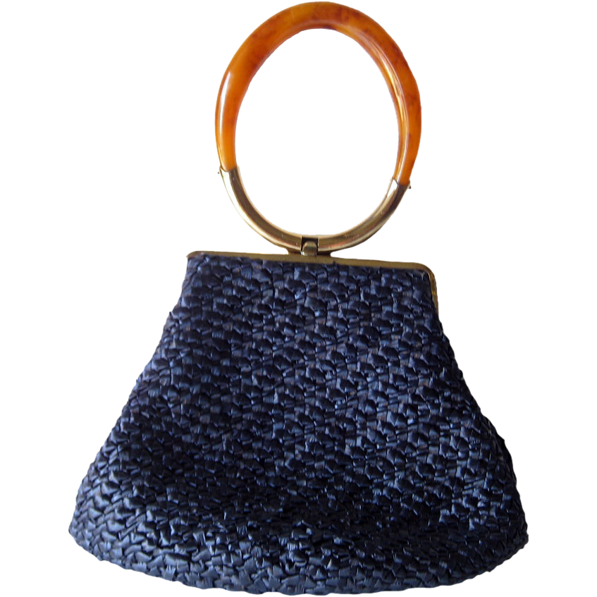Vintage Blue Straw Purse With Rootbeer Lucite Handle MOD Chic