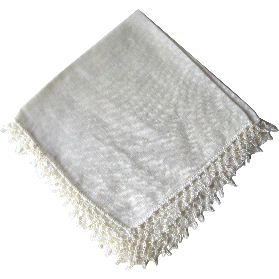Vintage Tatted Edged Wedding Handkerchief / Bridal Hanky / Bride Hankie / Vanity Item / Womans Gift