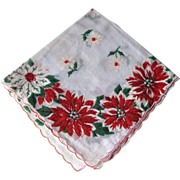 Vintage Christmas Holiday Poinsettia Handkerchief / Hanky / Hankie / Vanity Item / Womans Gift / DIY / Craft / Christmas
