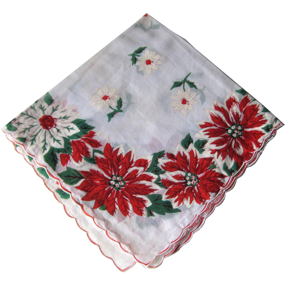 Vintage christmas holiday poinsettia handkerchief hanky - Retro vintage ...