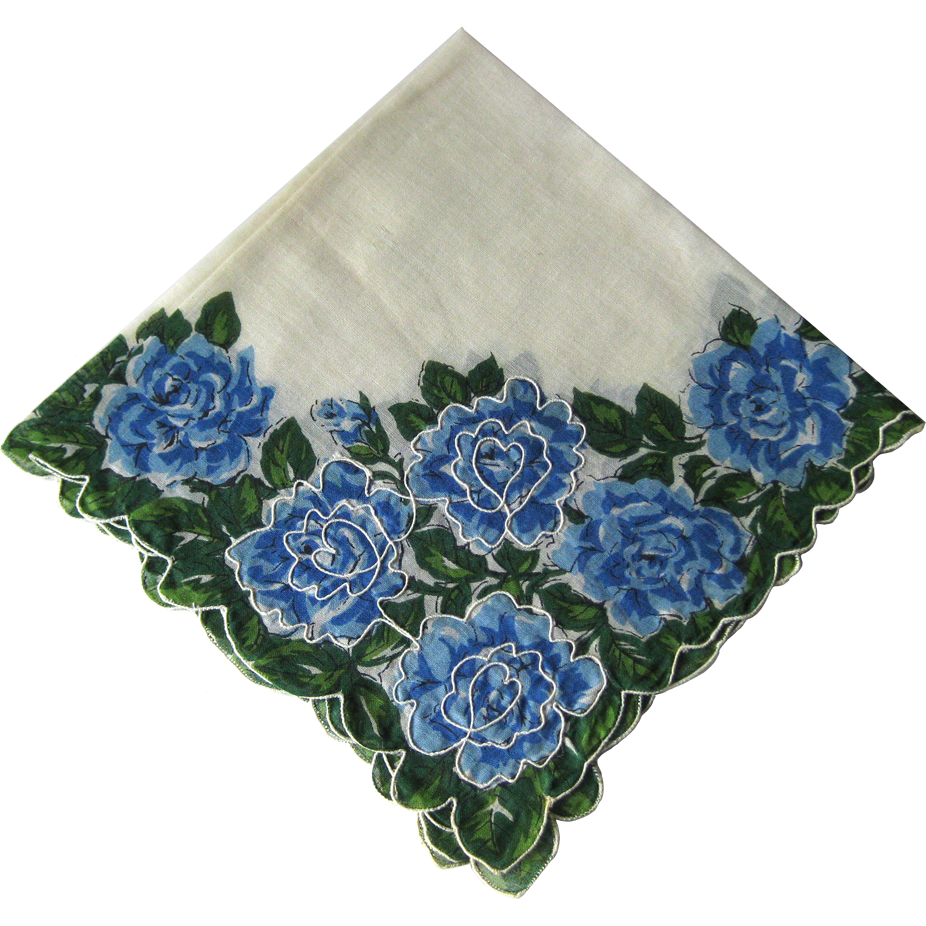 Vintage Blue Floral Handkerchief / Hanky / Hankie / Embroidered Details / Vanity Item / Womans Gift / DIY / Craft
