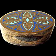 Italian Champleve Enameled Box / Vanity Box / Pill Box