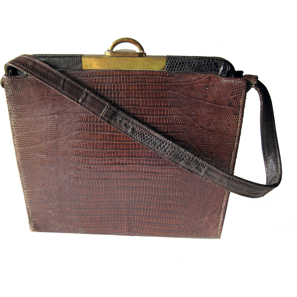 1950's-60's Brown Alligator Handbag With Brass Hardware