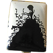 Vintage Enameled Silhouette Powder Compact / Vanity Accessory / Purse Accessory
