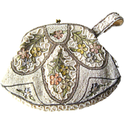 Belgium Embroidered Beaded Art Nouveau Purse - Beaded Floral Purse - Bride Purse - Fashion Accessories - Vintage Wedding