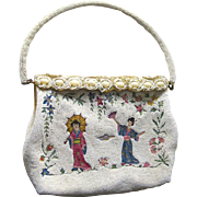 Delill Beaded and Embroidered Asian Themed Purse Made in France - Vintage Beaded Handbag - Bride Purse - Vintage Wedding