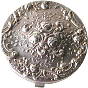 Gorham Sterling Repousse Compact- Bridesmaid Gift - Vanity Rose Compact - Purse Accessory - Gorham Silver Compact - Sterling Silver Compact