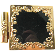 Vintage Helena Rubinstein Lipstick and Powder Compact - Black Enamel Compact - Purse Accessory - Purse Mirror - Purse Lipstick
