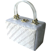 Lucite and Wicker Box Purse - Unusual Collectible Purse - White Purse - Early Plastic Purse