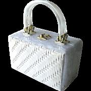 Lucite and Wicker Box Purse - Unusual Collectible Purse - White Purse - Early Plastic Purse