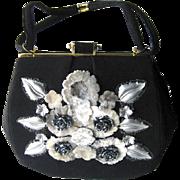 Caron Black Cloth Purse With Rose Accents - Unusual Collectible Purse - Caron Of Houston Handbag - 1950s Vintage Purse
