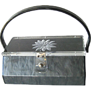 Carved Lucite Grey Purse - Collectible Purse - Early Plastic Purse - Gray Lucite Purse - Carved Box Purse - 1940s Handbag