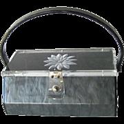 Carved Lucite Grey Purse - Collectible Purse - Early Plastic Purse - Gray Lucite Purse - Carved Box Purse - 1940s Handbag