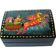 Russian Lacquered Troyka Box - Hand Painted Russian Box - Troika Box - Signed Tranex - Trinket Box - Jewelry Box