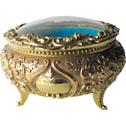 Domed Glass Jewelry Casket Box - Trinket Box - Dressing Table Box - Vanity Glass Box - Round Dressing Box