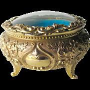Domed Glass Jewelry Casket Box - Trinket Box - Dressing Table Box - Vanity Glass Box - Round Dressing Box