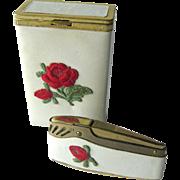 Princess Gardner Cigarette and Lighter Set - Prince Gardner Lighter - Tobacciana - Rose Decorated Box and Lighter