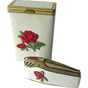 Princess Gardner Cigarette and Lighter Set - Prince Gardner Lighter - Tobacciana - Rose Decorated Box and Lighter