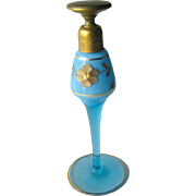 Volupte Perfume Bottle Blue Glass With Gold Floral Design - Art Deco Perfume Bottle - Floral Design Bottle - Collectible Perfume Bottle