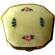 La Mode Guilloche Enamel Yellow Floral Compact - Bridesmaid Gift - Compact Mirror - Powder Rouge Compact - Makeup Compact - Ladies Compact