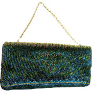 Belgium Hand Beaded Peacock Colored Purse - Evening Handbag