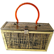Lucite and Gold Strand Box Purse With Orange Handle - Collectible Purse - Early Plastic Purse - Vintage Box Purse