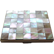 Mother Of Pearl Checkerboard Compact by Kaycraft - Kay Craft Compact - Vintage Vanity Compact - Powder Compact - Vintage Handbag Mirror
