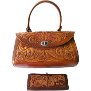 Hand Tooled Leather Purse and Wallet Signed by Artist - Les Grahan Signed Purse - BOHO Leather Handbag and Wallet - Vintage Leather Bags