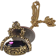 FOB Necklace Victorian Style Amethyst Purple Glass Flip Rhinestone