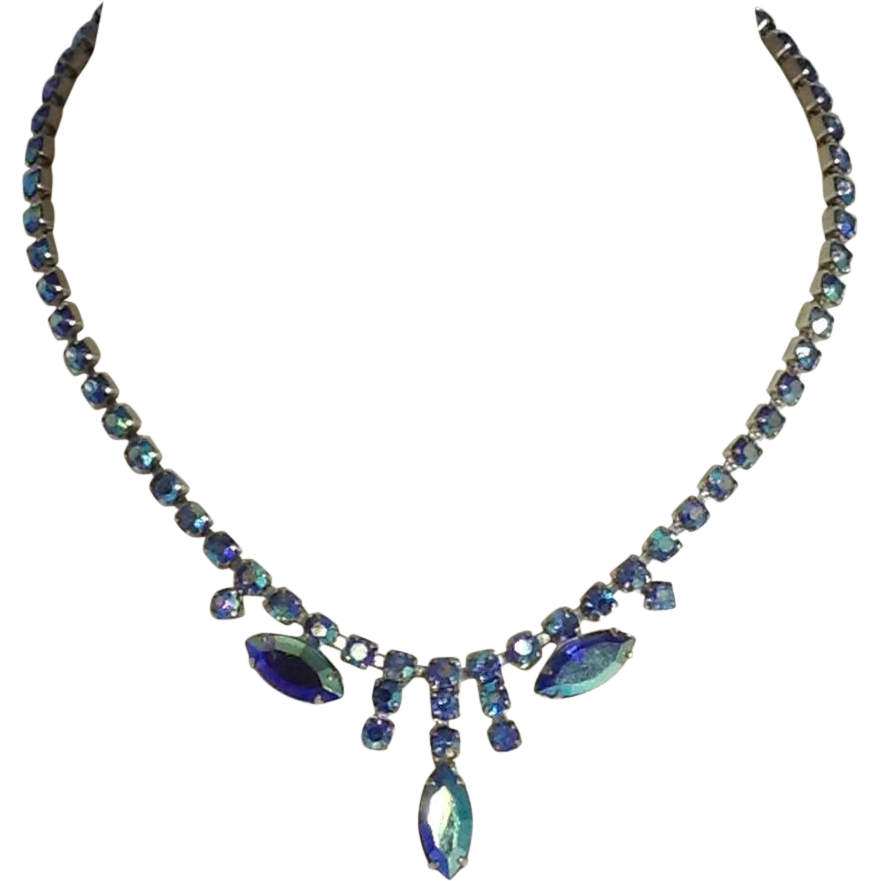 Peacock Blue Necklace Open Back Glass Rhinestone