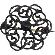 Antique Victorian Mourning Pin Black Enamel Gothic Brooch Scroll Work C Clasp