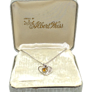 Heart Necklace Albert Weiss Box Topaz Glass Rhinestone November Silver Tone