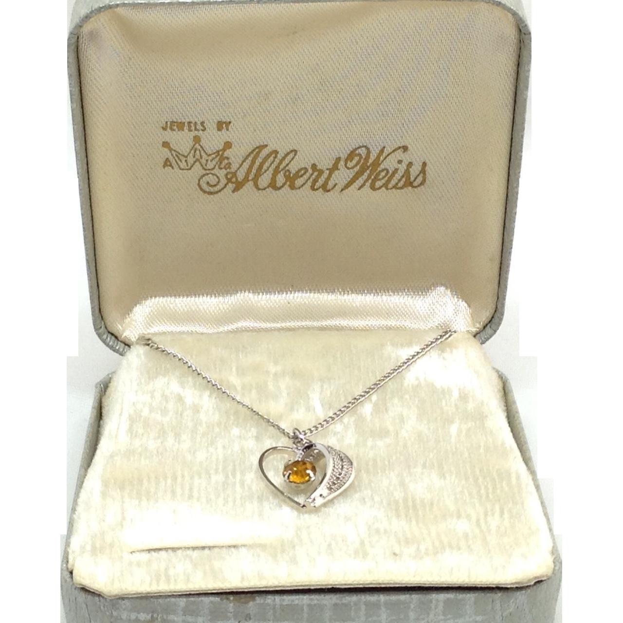 Heart Necklace Albert Weiss Box Topaz Glass Rhinestone November Silver Tone