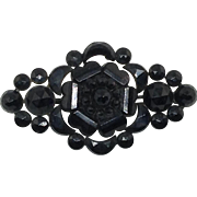 Gothic Pin Victorian Mourning Black French Jet Glass Brooch Antique