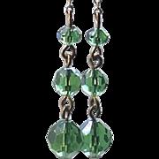"3"" Long Green Beaded Glass Earrings Chain Dangle Clip Gold Tone"