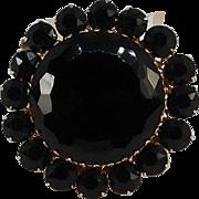 Large Jet Black Glass Pin Gothic Style Rhinestone Brooch Gold Tone