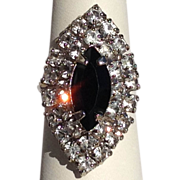 Big Cocktail Ring Diamond and Black Glass Rhinestone Silver Tone Adjustable